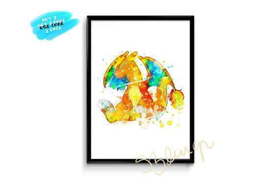 Charizard Watercolor Pokemon Print Watercolor Pokemon Art