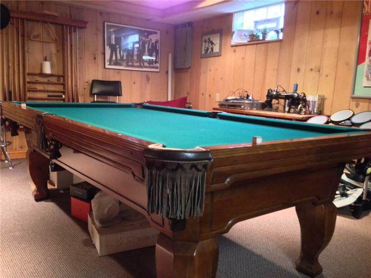 8u0027 Brunswick Billiards Pool Table Installed New Cloth Complete