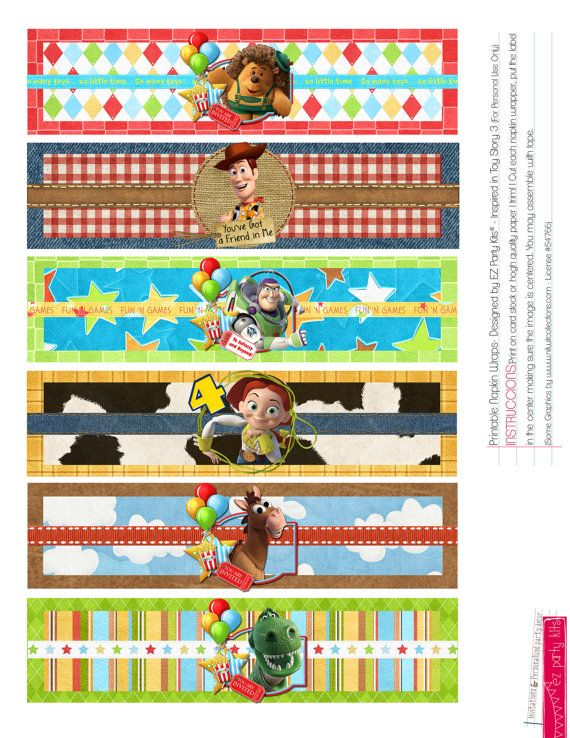 Happy Birthday TOY STORY Printable Napkin and Water Wraps by EZPARTYKITS, $9.00…