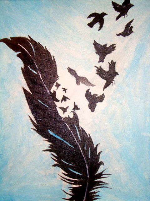 Acrylic painting birds of a feather painting for Painting feathers on canvas