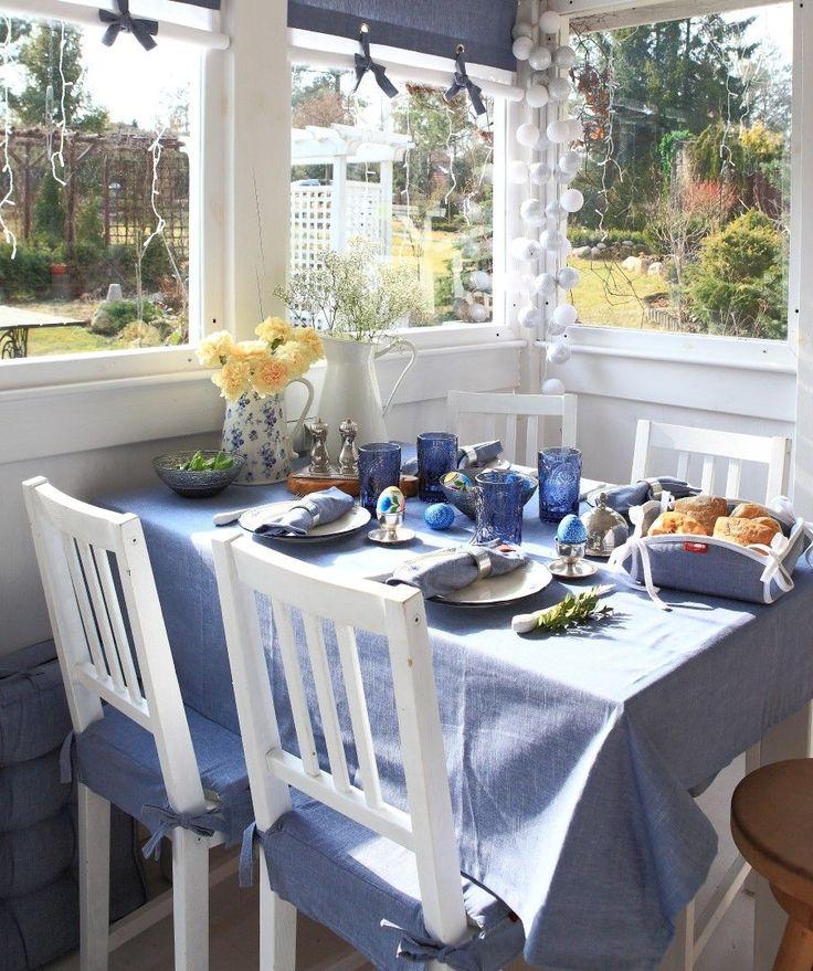 Ester blue table. #dekoria #ester #wielkanoc #inspirations #inspiracje #jadalnia #diningroom #interior #wnetrza #urzadzamy #decorations #dekoracje