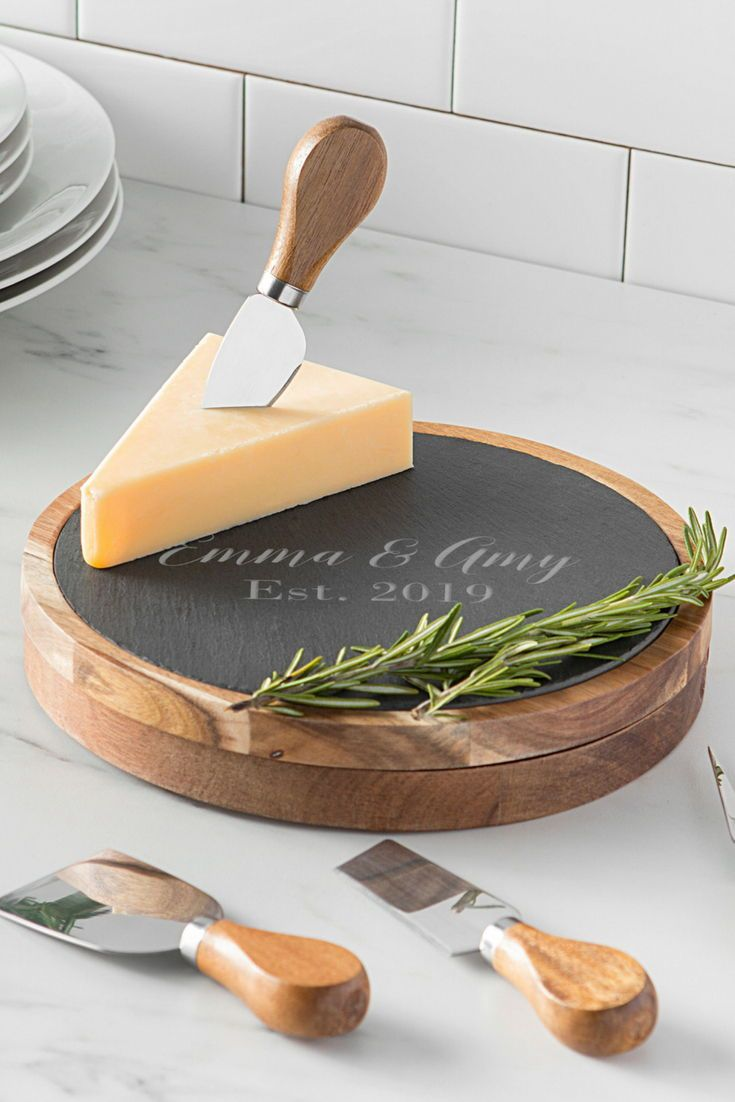 Personalized Wood And Slate 5 Piece Cheese Board Set W Utensils Cheeseboard Gift Cheese Board Set Cheese And Cracker Platter
