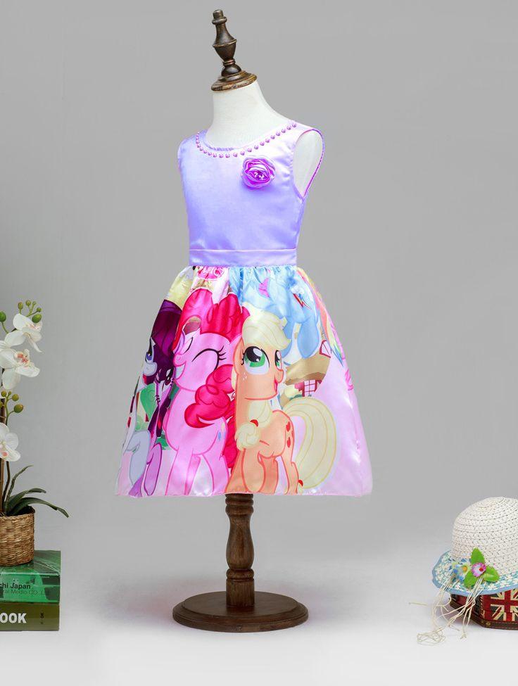 Princess My Little Pony Dresses,Purple Sleeveless Birthday Party Dress #QHMD207 - Thumbnail 1