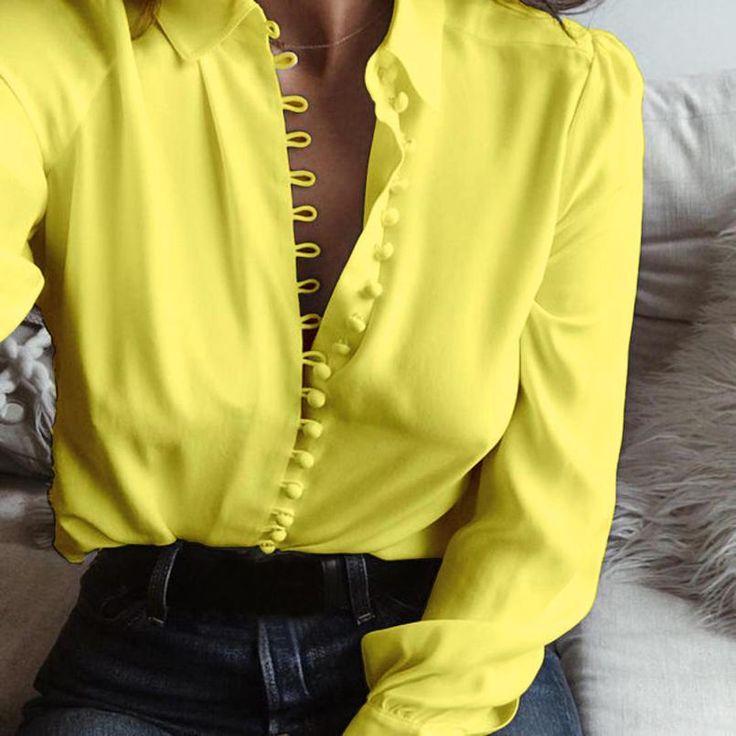 Aliexpress.com: Compre Primavera 2017 nova Mulheres Blusa de Moda Feminina Do Vintage Camisas Casual Sólido Branco Tops de Mangas Compridas Lapela Blusas Camisa Feminina de confiança blusas femininas fornecedores em Her Store