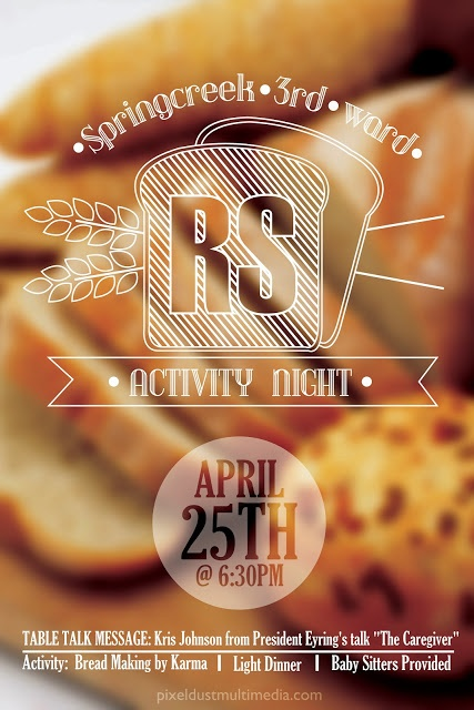 bread themed Event Poster. great use on a thin white stoke and a blurred out image in the background.
