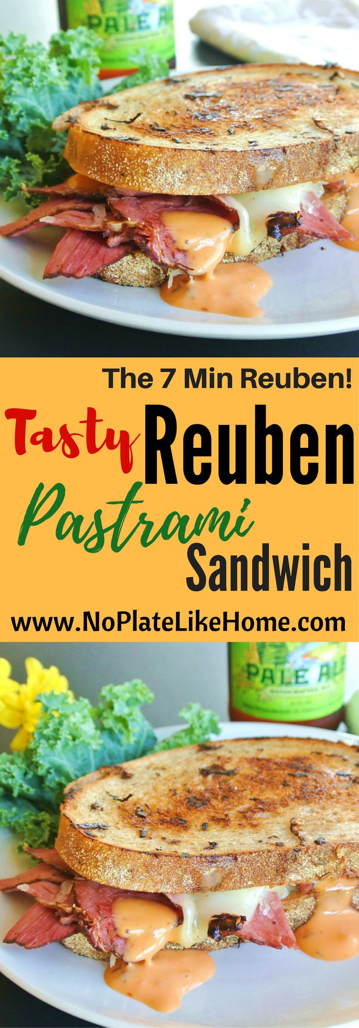 In 7 min, you can make a tasty classic grilled Reuben Pastrami with sauerkraut, Swiss cheese, Rye bread and homemade dressing This recipe is fast and easy! Pin for dinner!