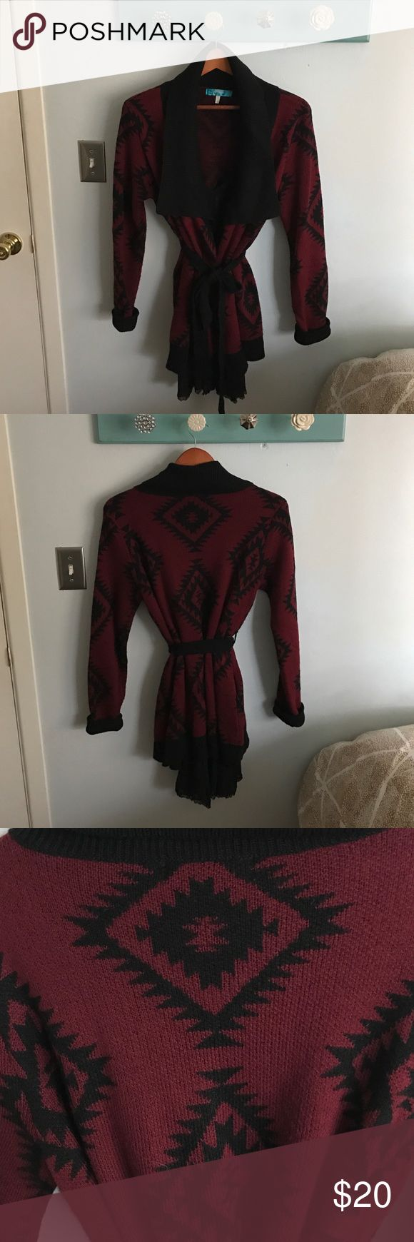 Francesca's Collections tribal sweater Great condition tribal print black and maroon sweater, has sash tie and POCKETS, made by Buttons Francesca's Collections Sweaters Shrugs & Ponchos