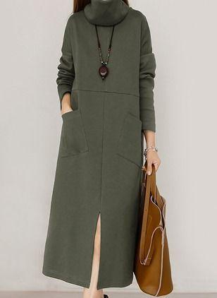 Повседневное платье из хлопока длины миди цвета сплошного с длинными рукавами