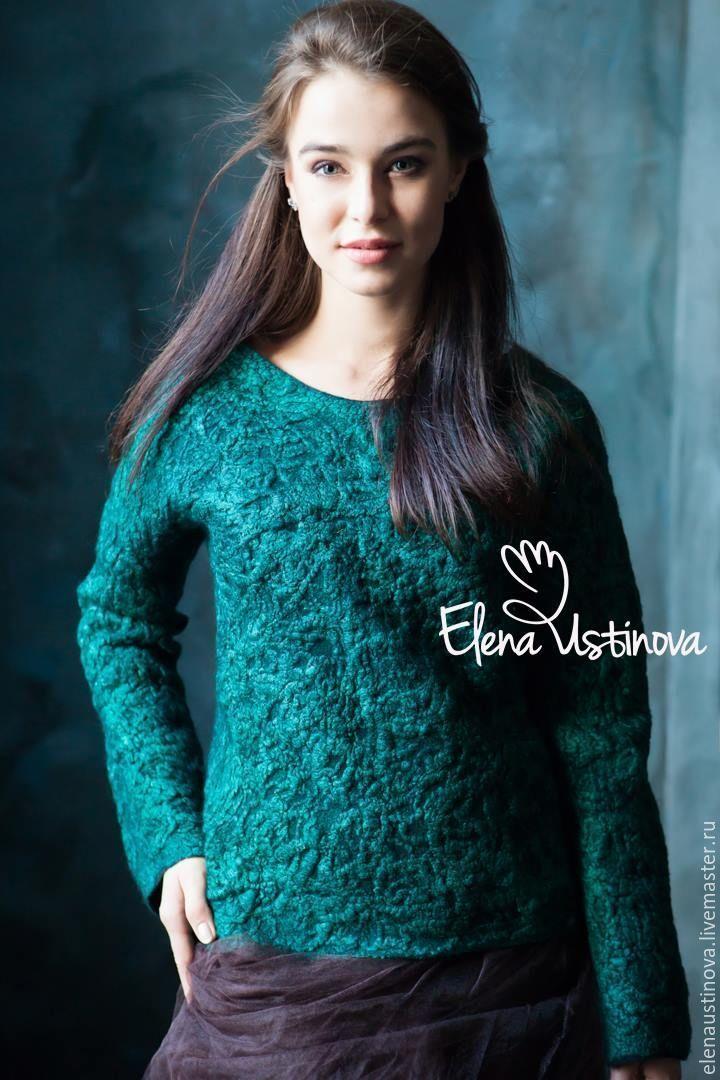 """Купить Джемпер валяный """"Green Island"""" - абстрактный, зеленый, свитер, джемпер женский, валяный свитер"""