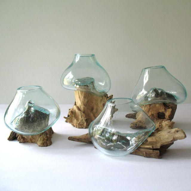 Unique To Each Piece Of Driftwood, The Molten Glass Is Hand Blown Directly  On Each Piece Of Wood. It Can Be Used As A Small Terrarium, Filled With . Part 50