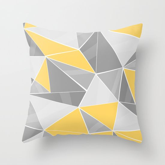 Pattern, grey - yellow Throw Pillow