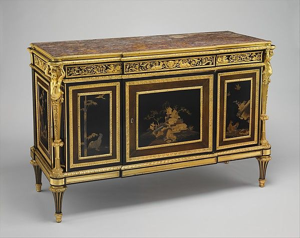 Commode (commode à vantaux) (part of a set), Adam Weisweiler (French, 1744–1820), Oak veneered with ebony, amaranth, holly, ebonized holly, satinwood, Japanese and French lacquer panels; gilt-bronze mounts, brocatelle marble top (not original); steel springs; morocco leather (not original), French, Paris