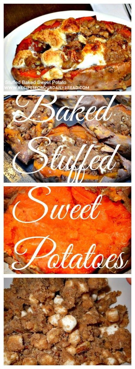 ... Baking Stuffed, Sweet Potato Recipes, Stuffed Sweet Potatoes, Pecans