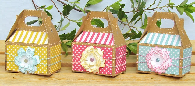 Gable boxes decorated with Cricut Flower Shoppe