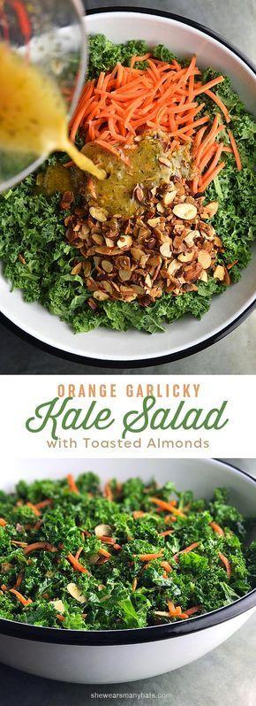 Easy Garlicky Orange Kale Salad Recipe | shewearsmanyhats.com