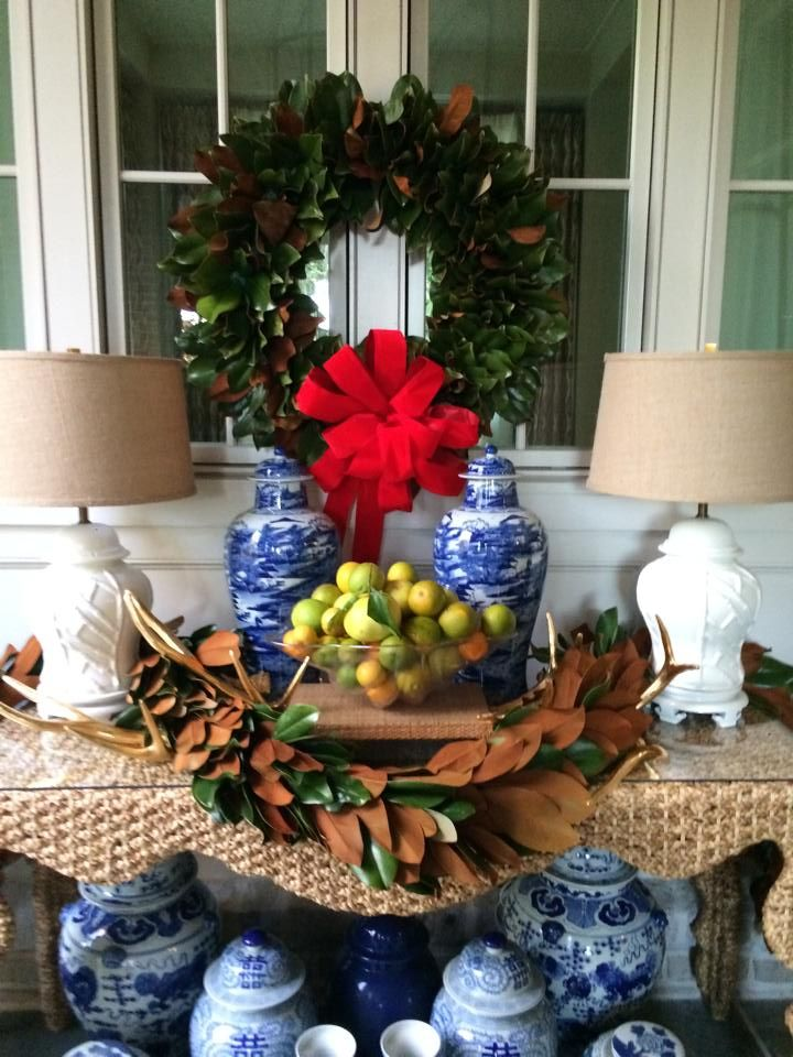 chinoiserie Christmas styling, magnolia garland, blue and white