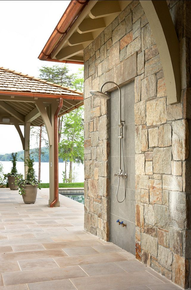 Outdoor Shower. Outdoor Shower Ideas. Great Outdoor Shower with lake view. #OutdoorShower