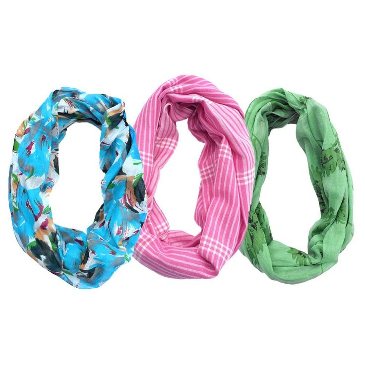 3 Infinity Scarves - Pink, Green, Blue