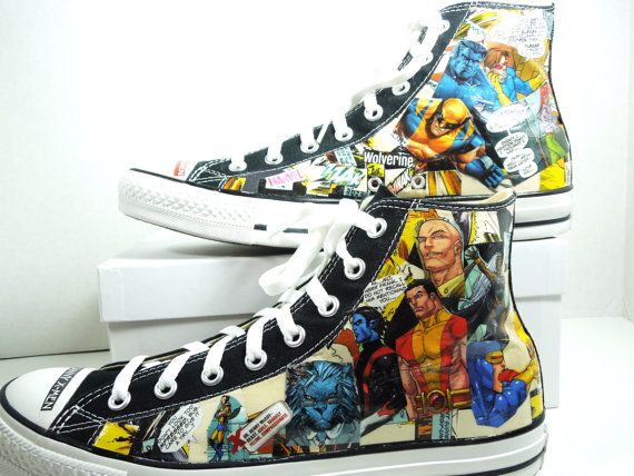 Men's X Men Comic Book Custom Sneakers. Cool Shoes for Geeky Guys. BDay. Unique Gift. Wolverine. Rogue. Storm. Cyclops. Nightcrawler. on Etsy, $85.00