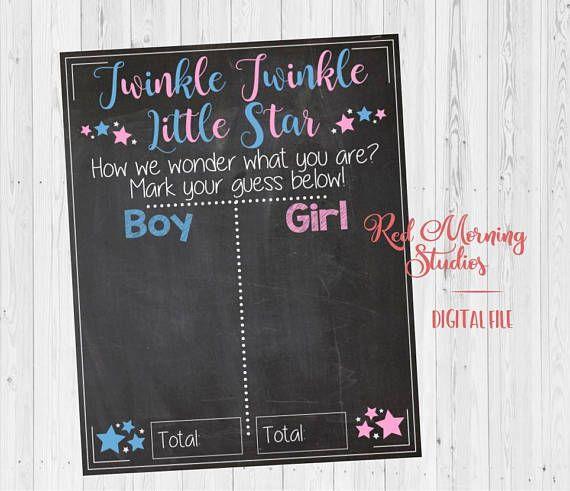 Little Star Gender Reveal Guess Sign Baby Shower Chalkboard