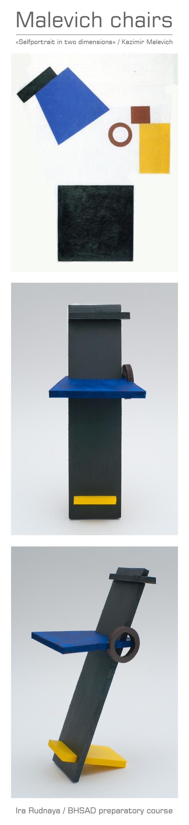 """Malevich chair / Ira Rudnaya / BHSAD preparatory course / """"Selfportrait in two dimensions"""""""