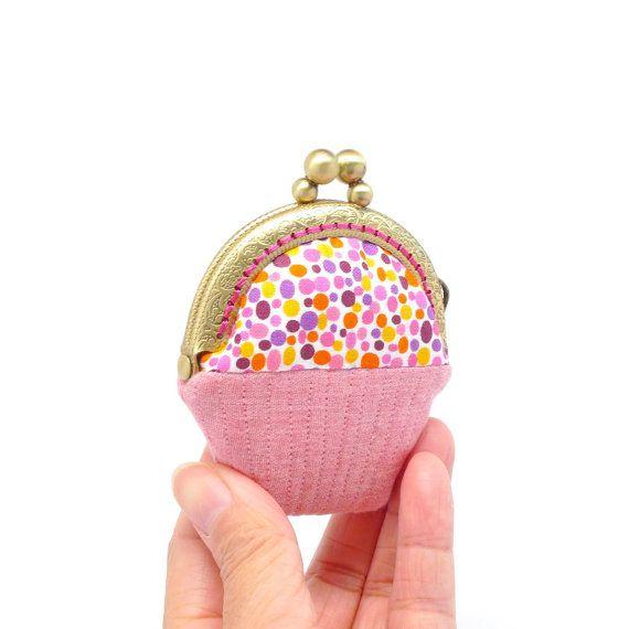 Whimsical red cupcake mini coin purse