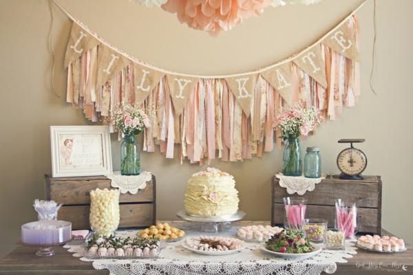 shabby chic birthday ideas | Kara's Party Ideas-shabby-chic-1st-birthday-party-aniversário de 1 ...