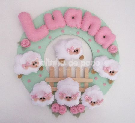 Enfeite Porta Maternidade Ovelhas Rosa - Bolinha de Pano