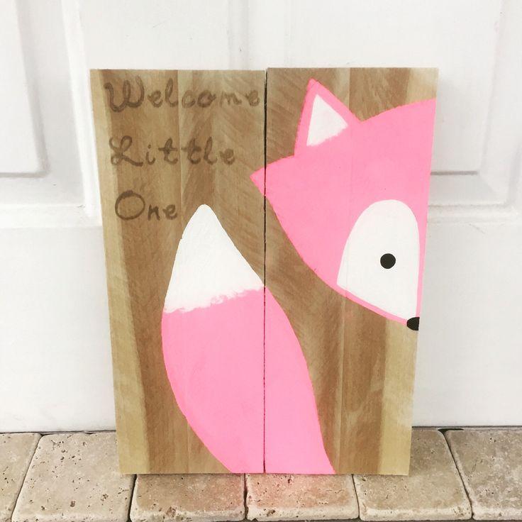 Goodnight clever little fox sign, fox nursery sign, fox decor, fox pallet, woodland animal, woodland nursery, nursery decor, pink fox by AmbersWoodenBoutique on Etsy https://www.etsy.com/listing/264134202/goodnight-clever-little-fox-sign-fox