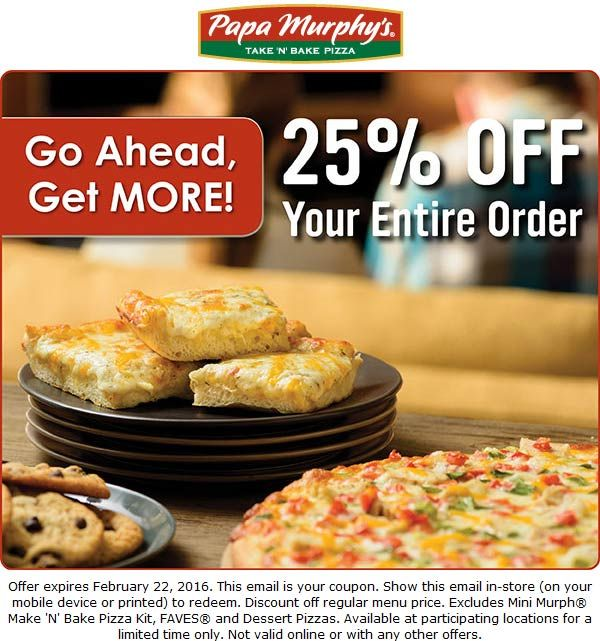 Pinned February 22nd: 25% off today at Papa #Murphys pizza #coupon via The #Coupons App