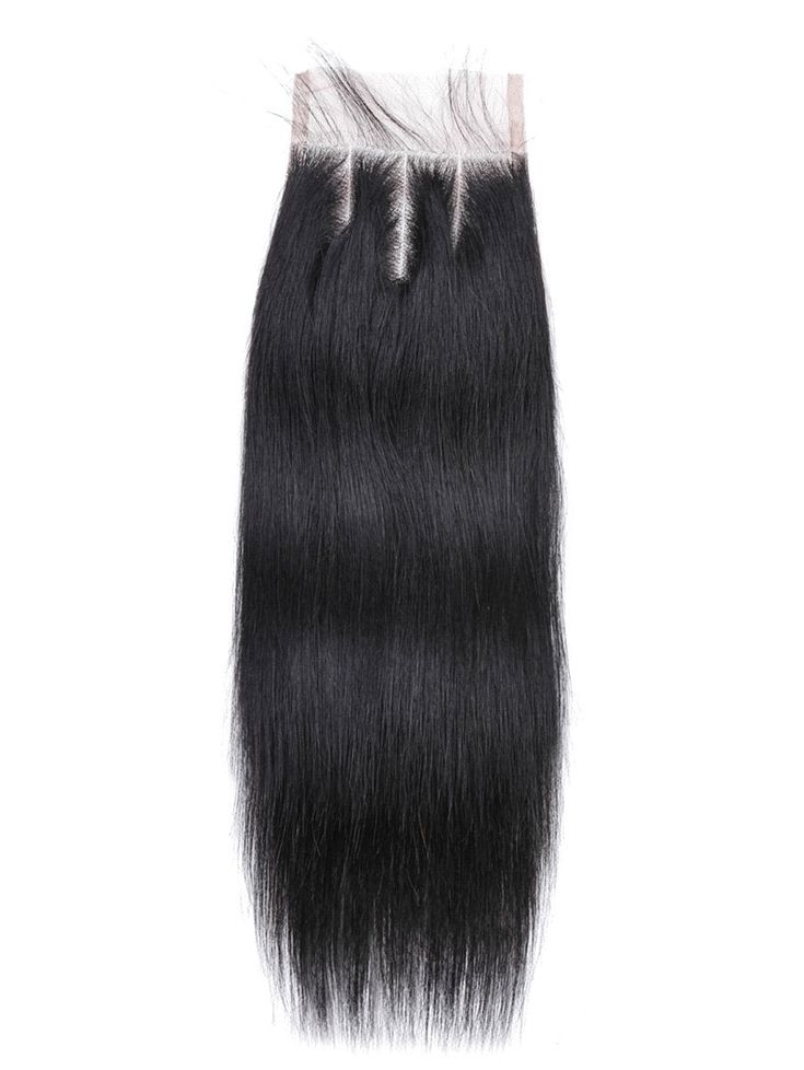 Straight Human Hair Weft with Lace Closure