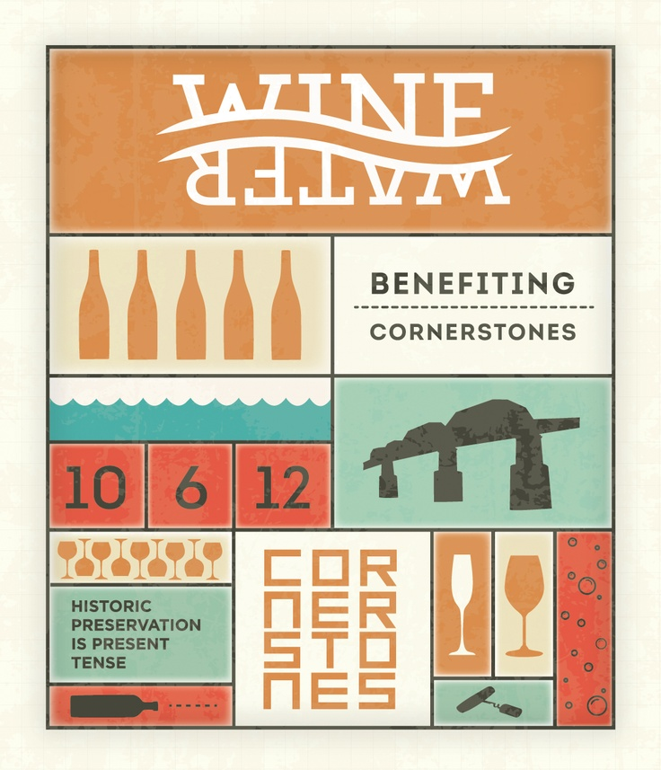 Save the Date for Wine Over Water fundraising event for Cornerstones.