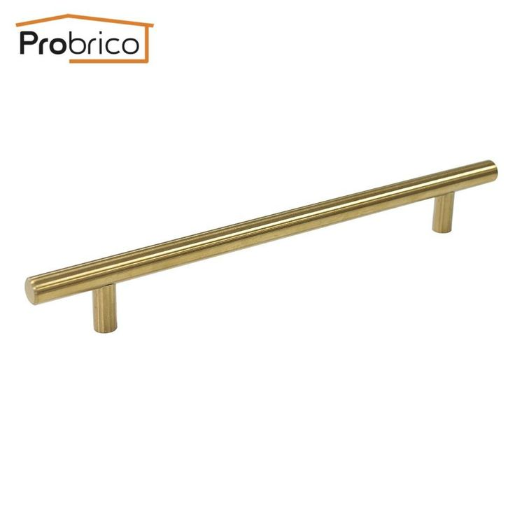 Probrico 100 Pcs Gold Stainless Steel Kitchen Cabinet Handle Pd1123Hgd192 Hole To Hole 192Mm Furniture Drawer Knob