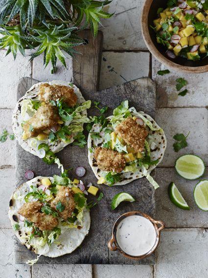 Fish tacos med mangosalsa