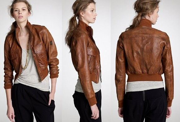 Images of Brown Leather Bomber Jacket Womens - Reikian