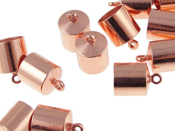 12 Kumihimo End Caps 8mm Copper Plated Cord Caps by LythaStudios, $7.50