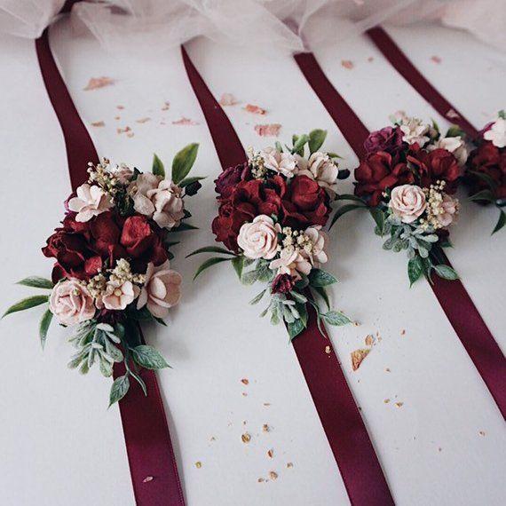 Bridesmaids corsage Autumn bridal bracelet Fall flower bracelet Bridal wrist corsage Bridesmaids bracelet Burgundy flower wrist corsage