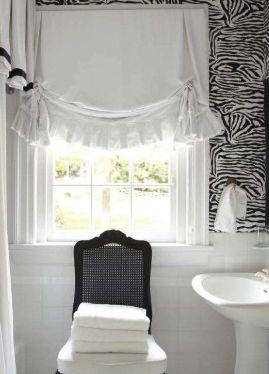 White linen London shade with deep ruffle