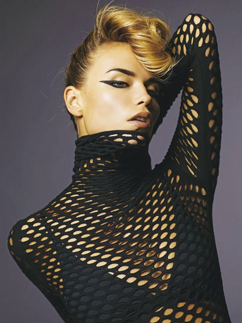Black fishnet top hair eye makeup art