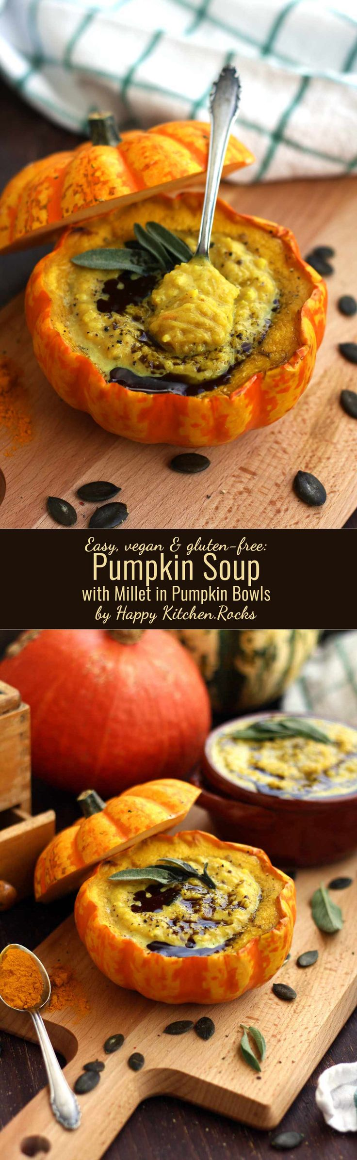 Easy pumpkin soup with millet served in pumpkin bowls is nourishing and comforting while being gluten-free and vegan! This recipe doesn't require a blender!