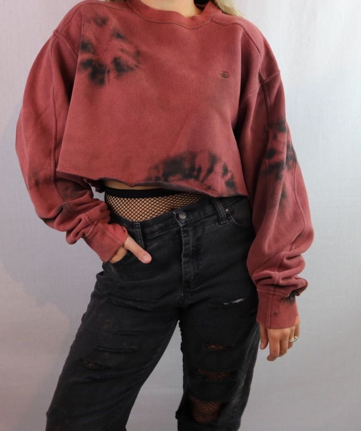 Custom Bleached Champion Cropped Pullover Sweatshirt. Distressed. Edgy. Grunge. Grungy 90s style. 1990s inspired. Streetwear. Croptop. Ripped jeans an...