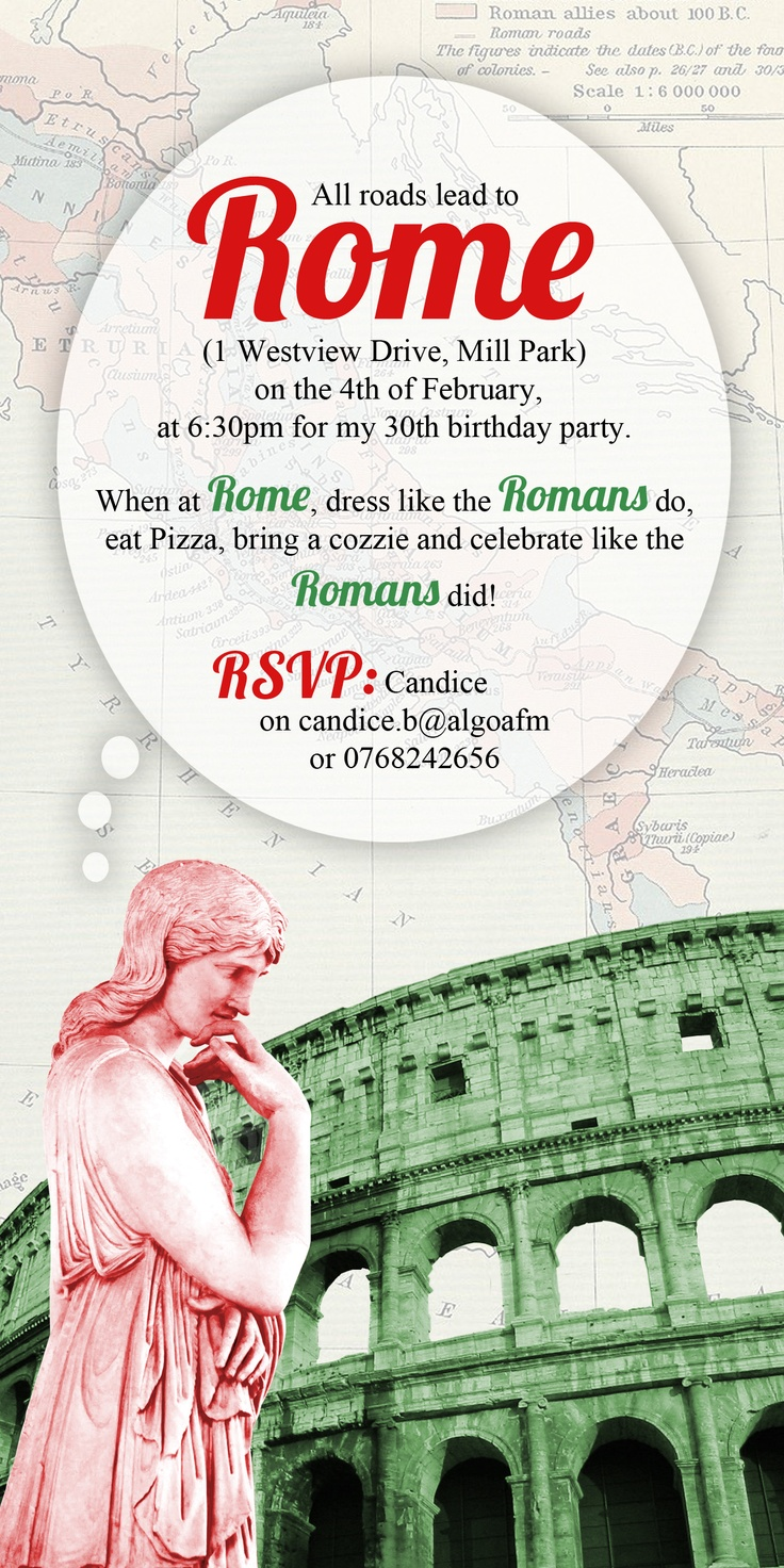 Roman themed party invitation | Group Dates | Pinterest ...