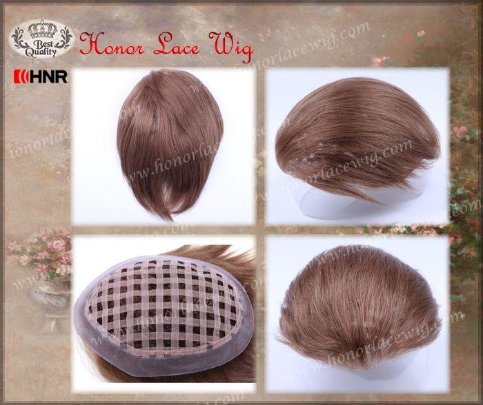 6 x 8 базовый размер 4 дюймов 6 дюймов длина волос Помпадур мужской парик можете сшить клипы