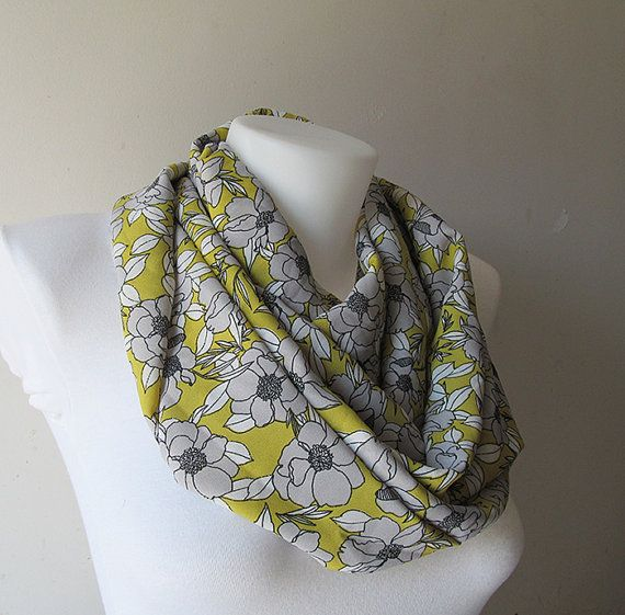 Floral Infinity Scarf Yellow Grey Scarf Soft by NaryasSewingCorner