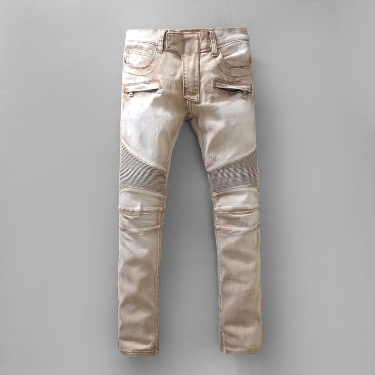 48.59$  Buy now - http://aliuyq.shopchina.info/go.php?t=32754512756 - Casual Light Brown Stretch Men Jeans Famous Designer Denim Runway Biker Jeans Masculina Long Trousers Pant Pantalones Vaqueros  #shopstyle