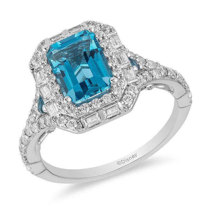 Verzauberter Disney Cinderella London Blue Topaz und 3/4 CT. T.w. Diamant-Doppelrahmen-Verlobungsring aus 14 Karat Weißgold