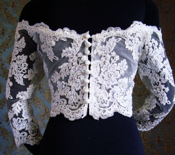 Couture OffShoulder Italian Lace 3/4 Sleeves Bolero by IheartBride, $399.00