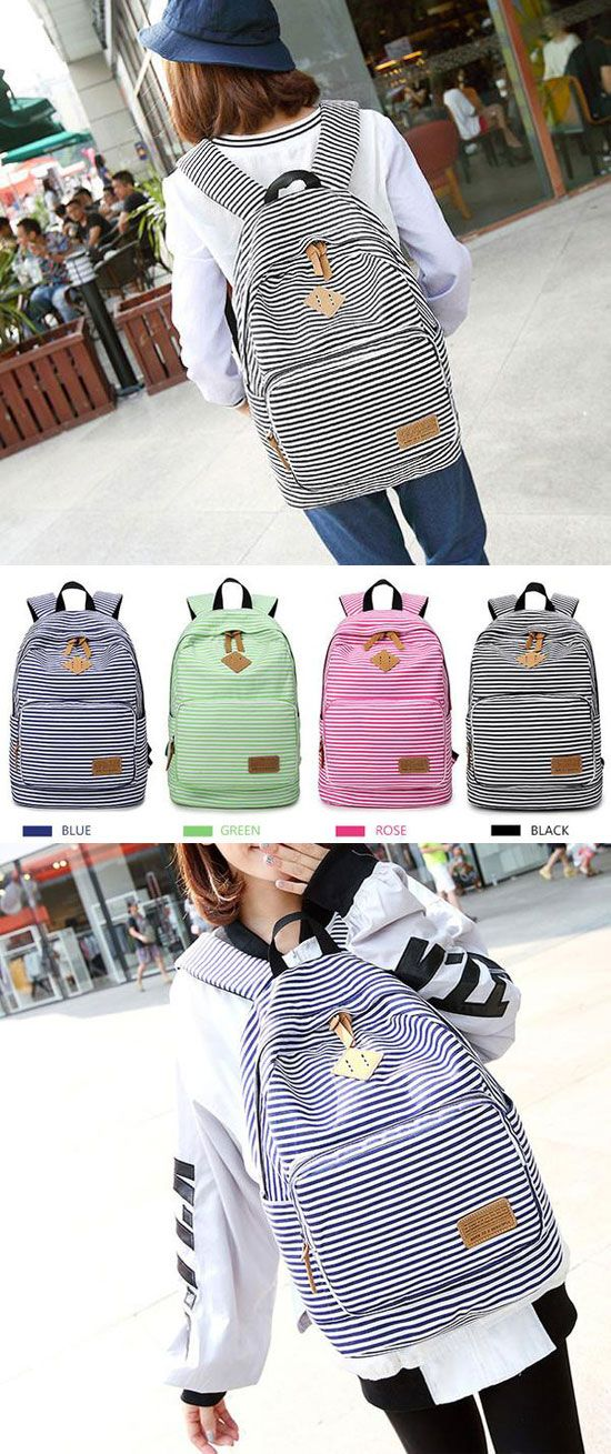 Stripe High School Bag Rucksack Trunk Student Travel Canvas Backpack for big sale! #canvas #travel #striped  #school #college #bag #rucksack #backpack #retro #fashion #student #girl #fashion #travel