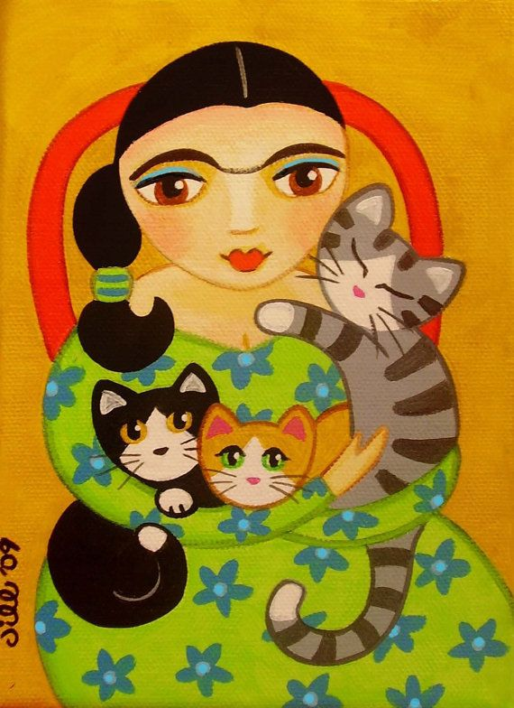 FRIDA Kahlo & 3 CATS Folk Art PRINT from Original by thatsmycat, $8.00