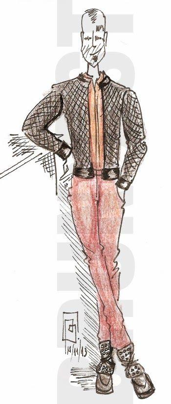 SÃO PAULO FASHION WEEK ILLUSTRATED   look 3   Brown and black are the main trend in São Paulo catwalks. #brunoost #menswear #illustration #fashion www.brunoost.com